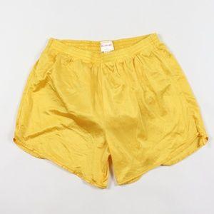 Vintage Mens Silky Nylon Running Short Shorts Gold